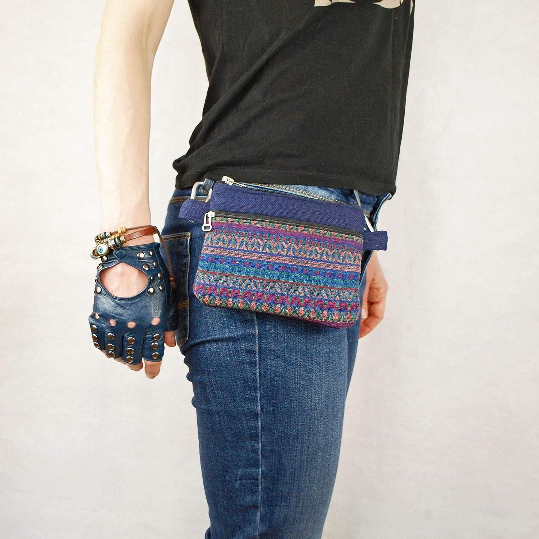 Rainbow cotton Pocket belt  cross body bag festival money belt utility belt pouch boho bumbag psy trance belt