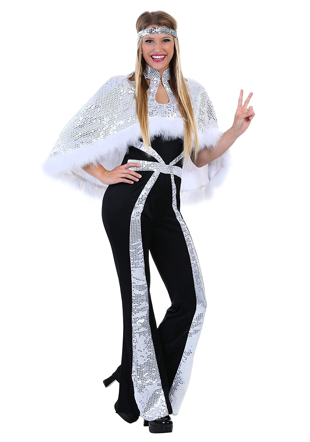 Plus Size Women\'s Dazzling Silver Disco Costume