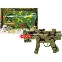 """Mozlly Light & Sounds Military Camo Gun, 11.5"""" w/ Vibrations, Pretend Play Costume Accessories, Colors Vary"""