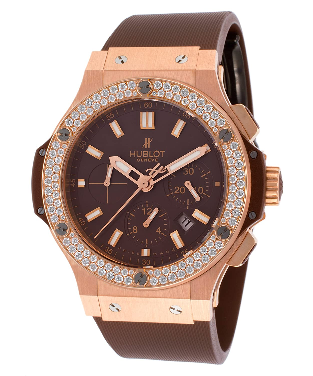 eb05944bcd63 Amazon.com  Hublot Men s Big Bang Automatic Chronograph Diamond Brown  Rubber  Watches