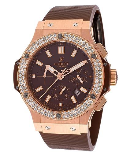 Hublot Hombre Big Bang Cronógrafo Automático Diamante Goma Marrón: Amazon.es: Relojes