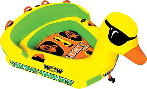 WOW Watersports Lucky Ducky 19-1040, 1 to 2 Person Towable, Front and Back Tow Points Large Inflatable Duck, Duck Tube