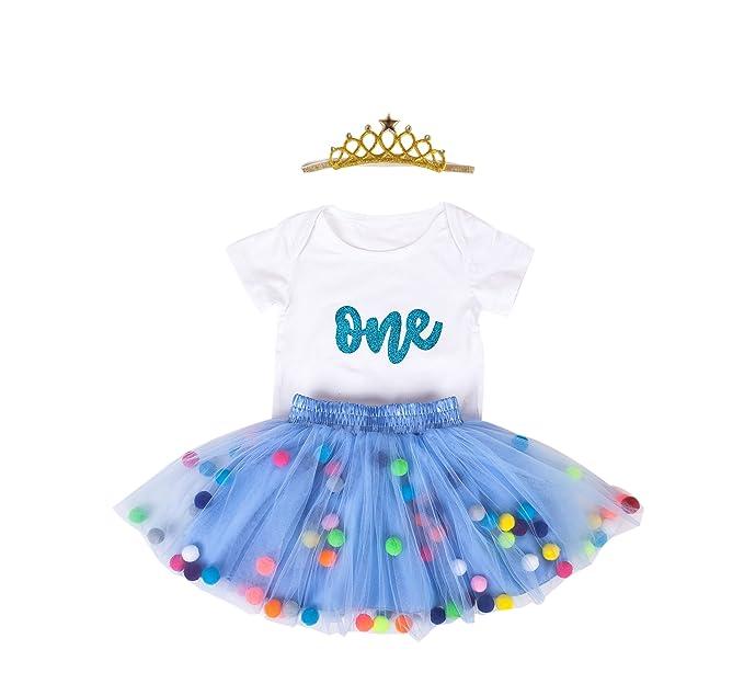 f7859fb1b718 Amazon.com: Baby Girls 1st Birthday Outfit Glitter One Romper Balls Skirt  Crown Headband: Clothing