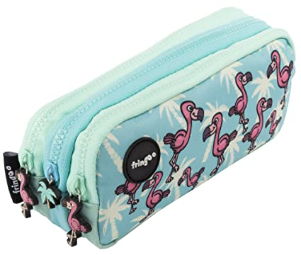 Estuche para lápices de 3 compartimentos FRINGOO, para niños, divertido y bonito, color Flamingo Paradise - 3 Compartments Large