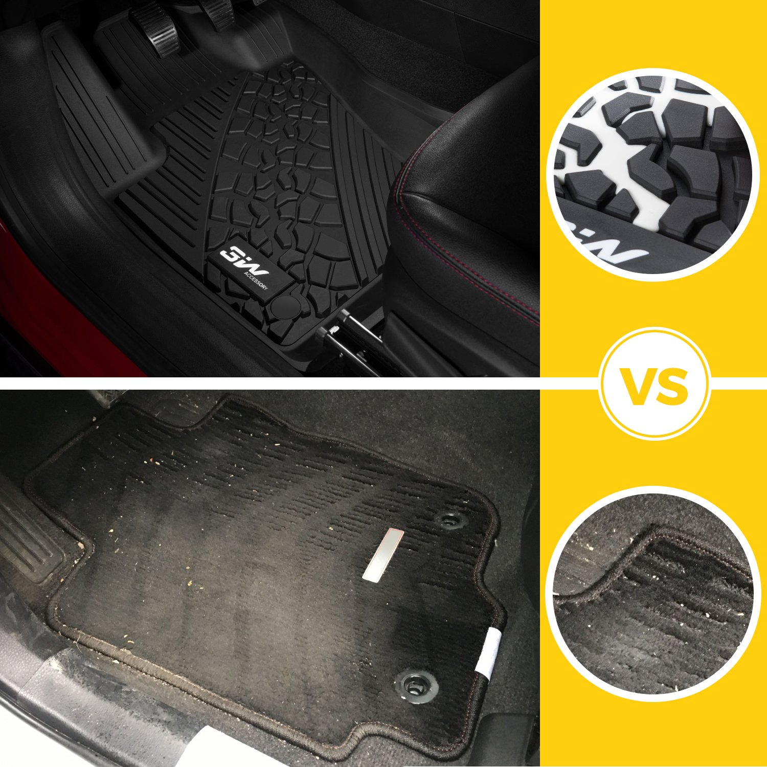 3W Floor Mats&Cargo Liner for Jeep Grand Cherokee (2016-2019) Full Set Heavy Duty Protection Custom Fit Floor Carpet&Trunk Mat All Weather Odorless TPE, Black by 3W (Image #5)