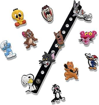 Accesorios crocs pulseras charms 50 piezas diferentes adornos para crocs de dibujos animados para ni/ños regalos para fiestas de cumplea/ños decoracion para pulseras y brazaletes