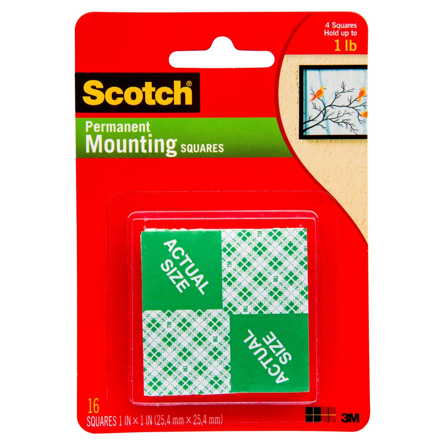 3M Scotch 111 Heavy Duty 1-Inch Mounting Squares, 16-Squares, White