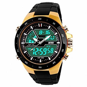 Relojes de Hombre 2018 Sport LED Digital Military Water Resistant Watch Digital Men RE0033 (GOLD