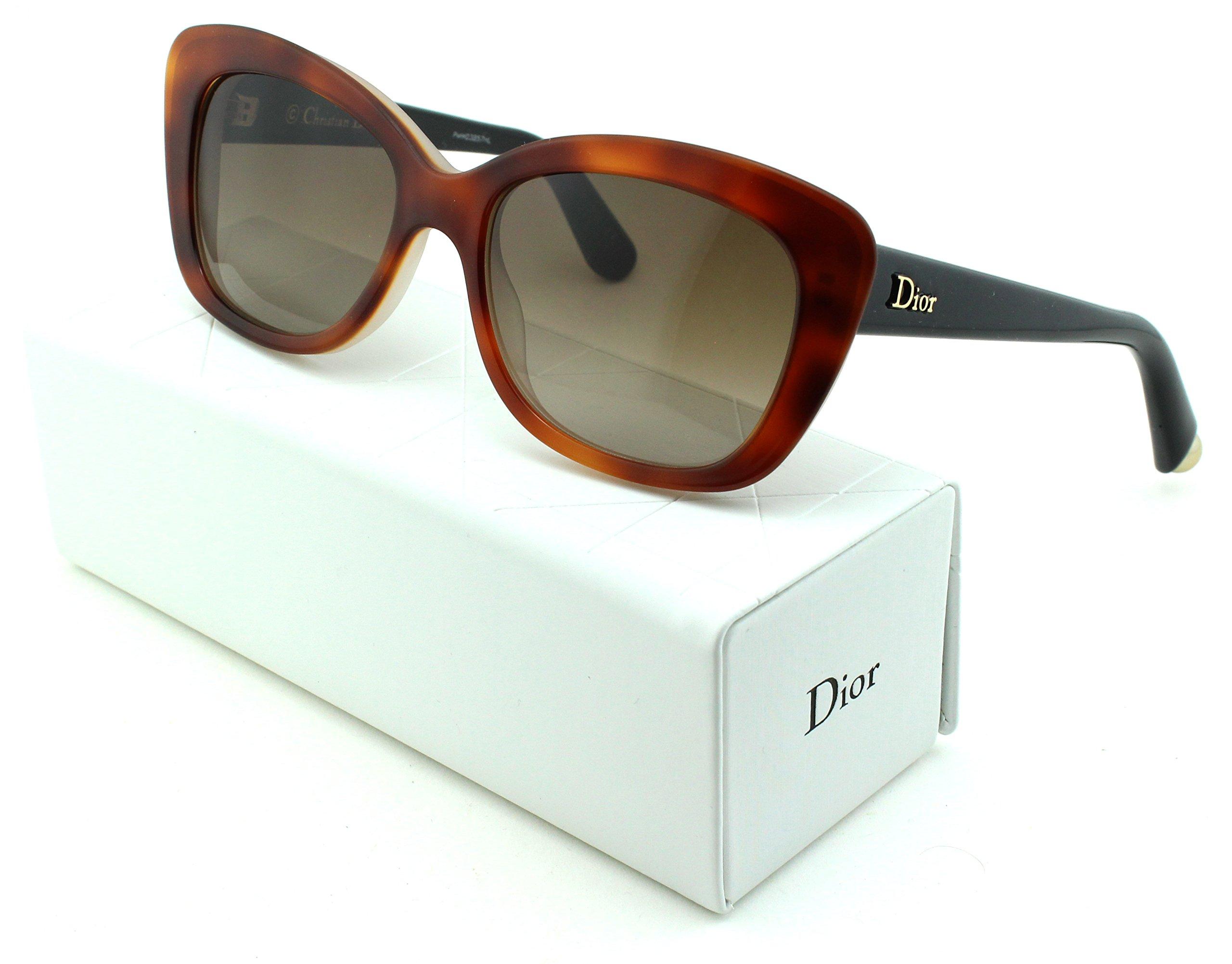 Dior Promesse 3 Cateye Women Sunglasses (Havana Salmon Black Frame, Brown Gradient (03IE))