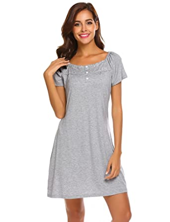 5080b6ef51 Keelied Women Ladies Summer Nightdress Short Sleeved Nighties Short  Nightshirt Loungewear Stretch Dress with Lace and Buttons Black Blue Grey   Amazon.co.uk  ...