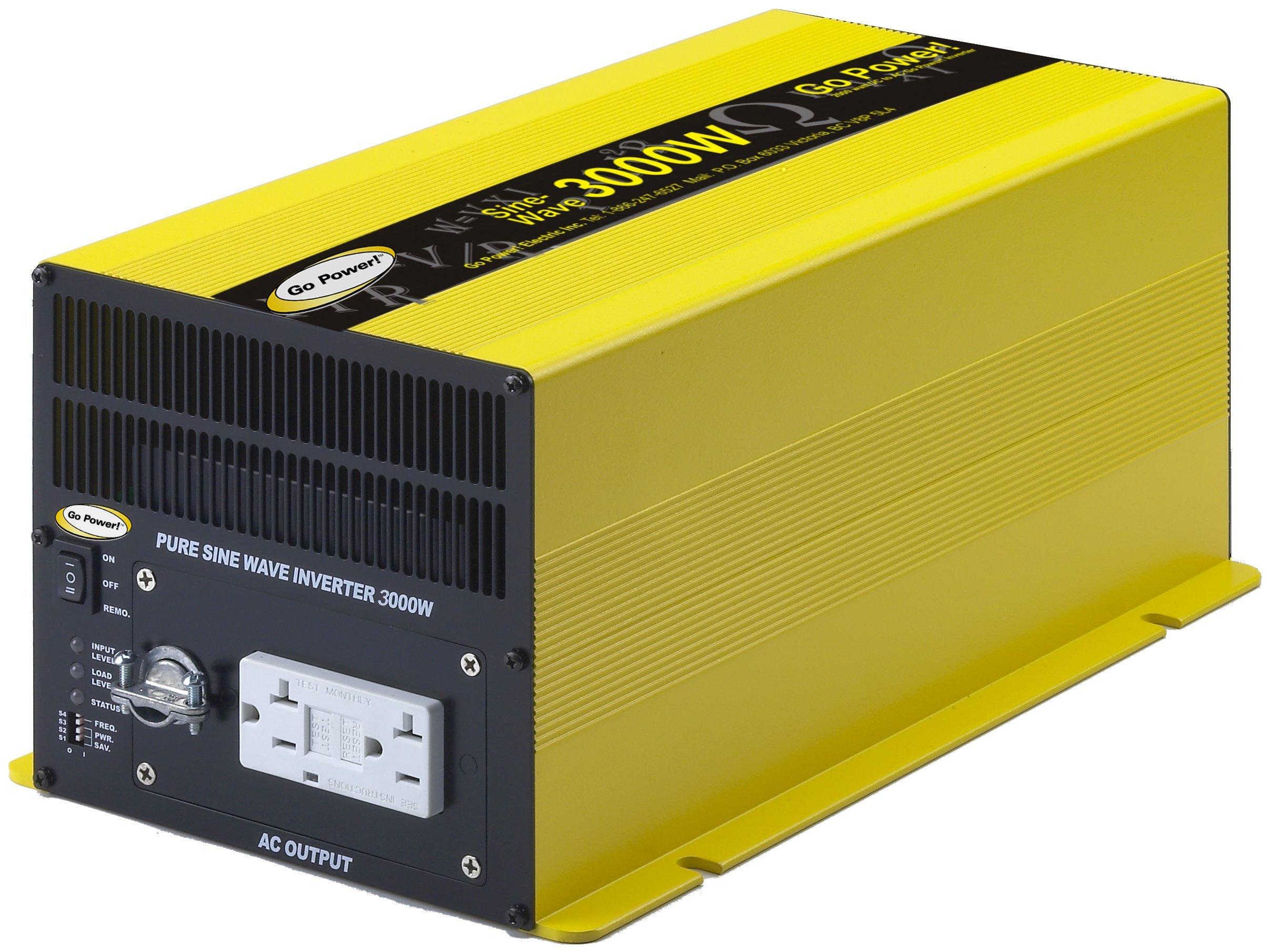 Go Power! GP-SW3000-12 3000-Watt Pure Sine Wave Inverter (Renewed) by Go Power!