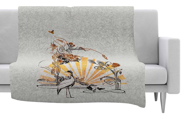 80 X 60 80 by 60-Inch Kess InHouse Frederic Levy-Hadida Art Nouveau Tune Beige Orange Fleece Throw Blanket