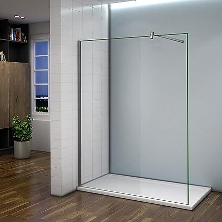 Réduction mieux aimé plus tard Paroi de douche 120x200cm verre anticalcaire cabine de douche à l'italienne  avec barre de fixation 140 cm
