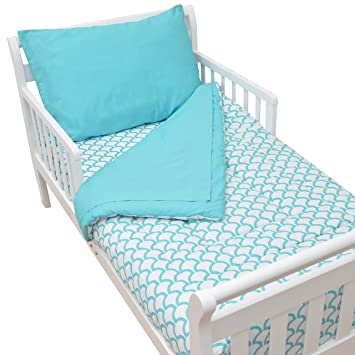 American Baby Company 100 Cotton Percale 4 Piece Toddler Bedding Set Aqua Sea Wave For Boys And Girls