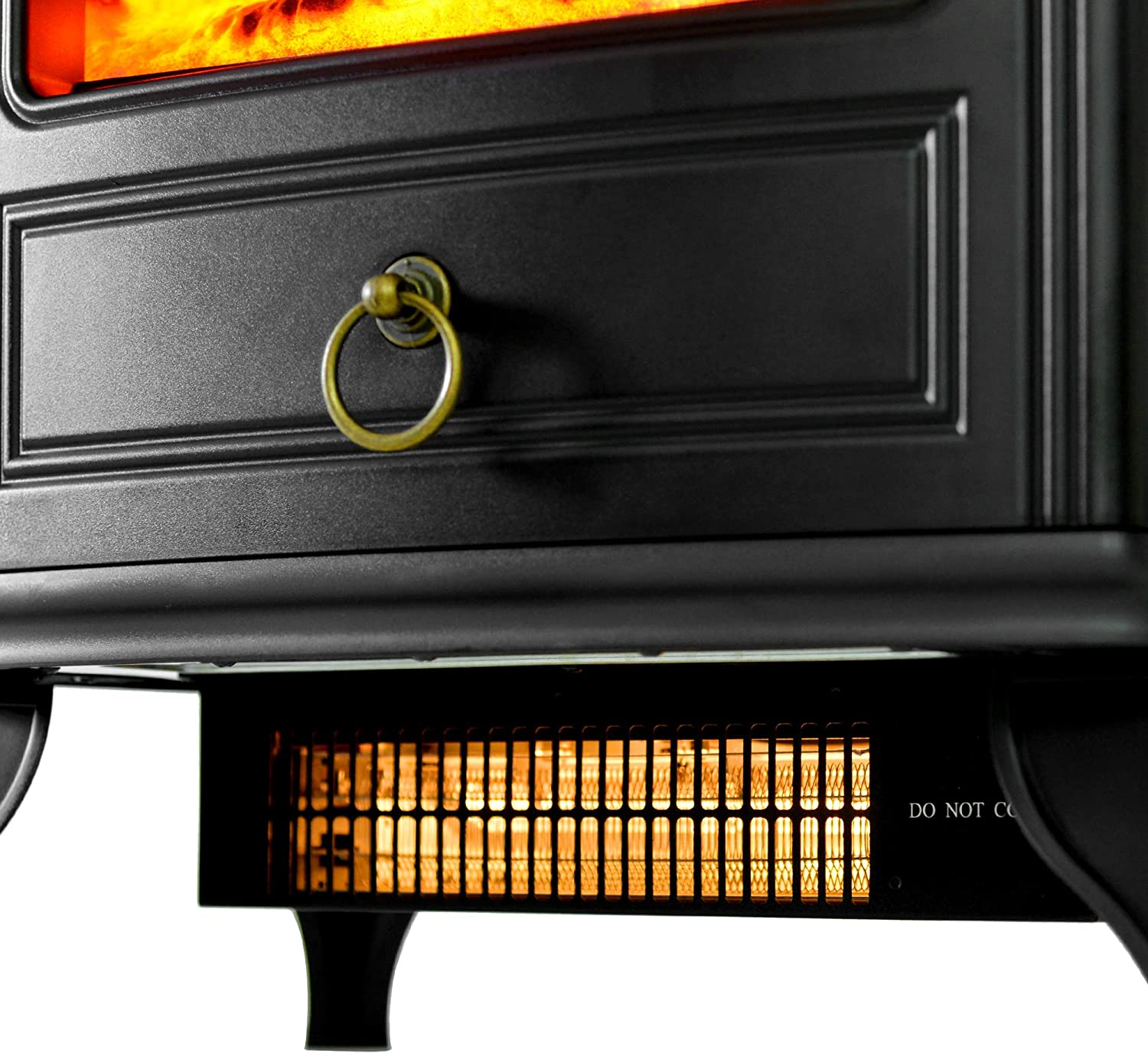 Electric Fireplace Compact Stove 1500W with Fire Flame Effect Freestanding Adjustable Thermostat Control Portable Electric Log Wood Burner Effect 2 Heat Settings
