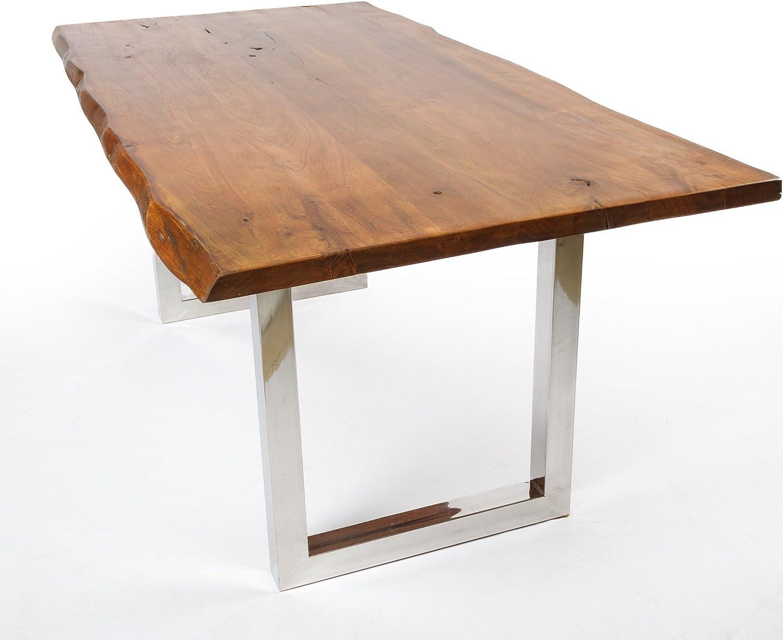Tavolo da pranzo in legno massiccio di acacia, con