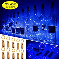 Luces Para Botellas, Ariceleo 10 Piezas 2 Metros 20 LED Cobre Alambre Luces Led para Botellas con Pilas, Corcho Lamparas Cadena Luz de Botella Decorativas Para Fiesta Boda Navidad DIY (Azul)