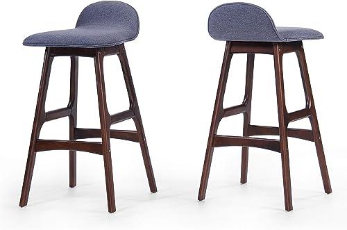 Christopher Knight Home Anatoli Fabric Barstools, 2-Pcs Set, Charcoal