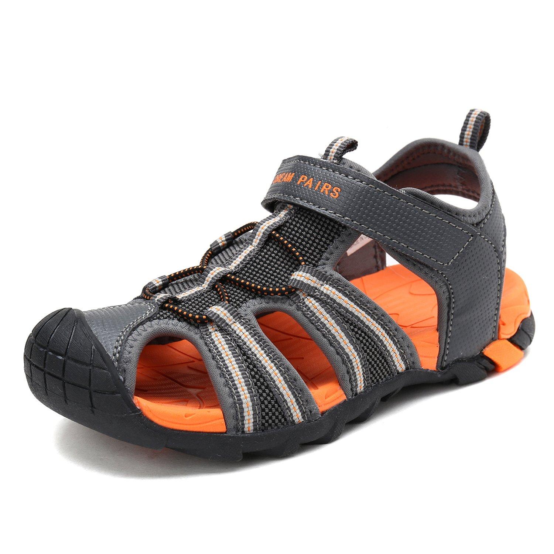DREAM PAIRS Little Kid 170813-K DK.Grey Orange Outdoor Summer Sandals Size 1 M US Little Kid