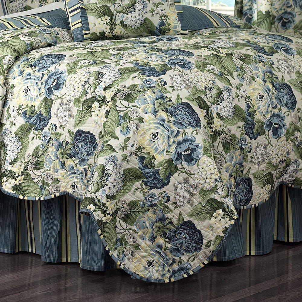 WAVERLY Floral Flourish Quilt Set 68x86 Porcelain Ellery Homestyles 14227BEDDTWNPOR
