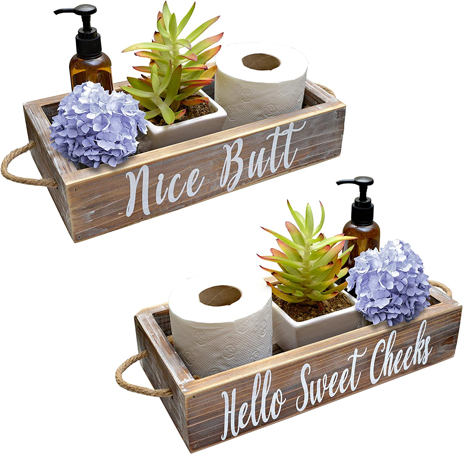 Nice Butt Bathroom Decor Box, 2 Sides with Funny Sayings - Funny Toilet Paper Holder Perfect for Farmhouse Bathroom Decor, Toilet Paper Storage, Rustic Bathroom Decor, Diaper Organizer (Whitewashed)