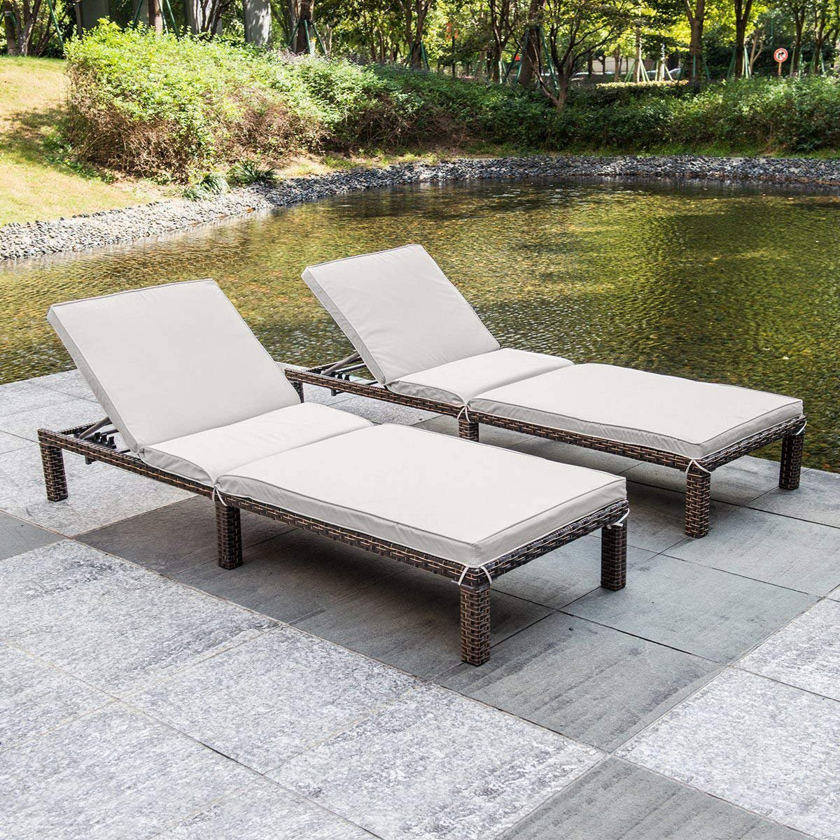 MAGIC UNION Patio Adjustable Wicker Chaise Lounge with Cushions Sets of 2 by MAGIC UNION (Image #1)