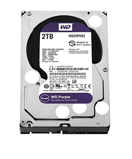 Amazon Com Wd Purple 2tb Surveillance Hard Drive 5400 Rpm Class