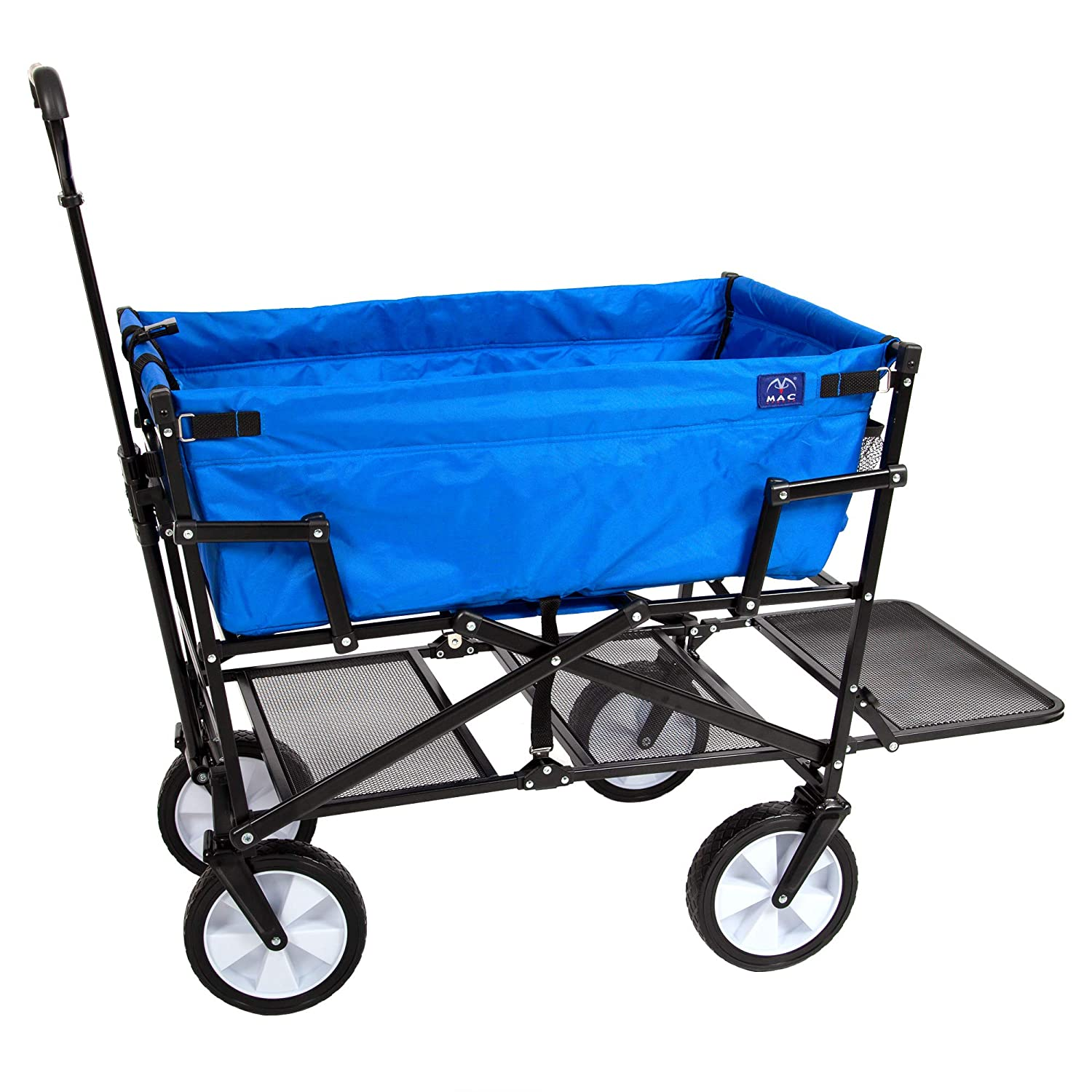 Mac Sports Double Decker Collapsible Outdoor Utility Wagon | Folding Pull Cart, for Sports Baseball Pool Camping Fishing, Collapsable Fold up Wagon with Wheels, Heavy Duty Steel, Royal Blue