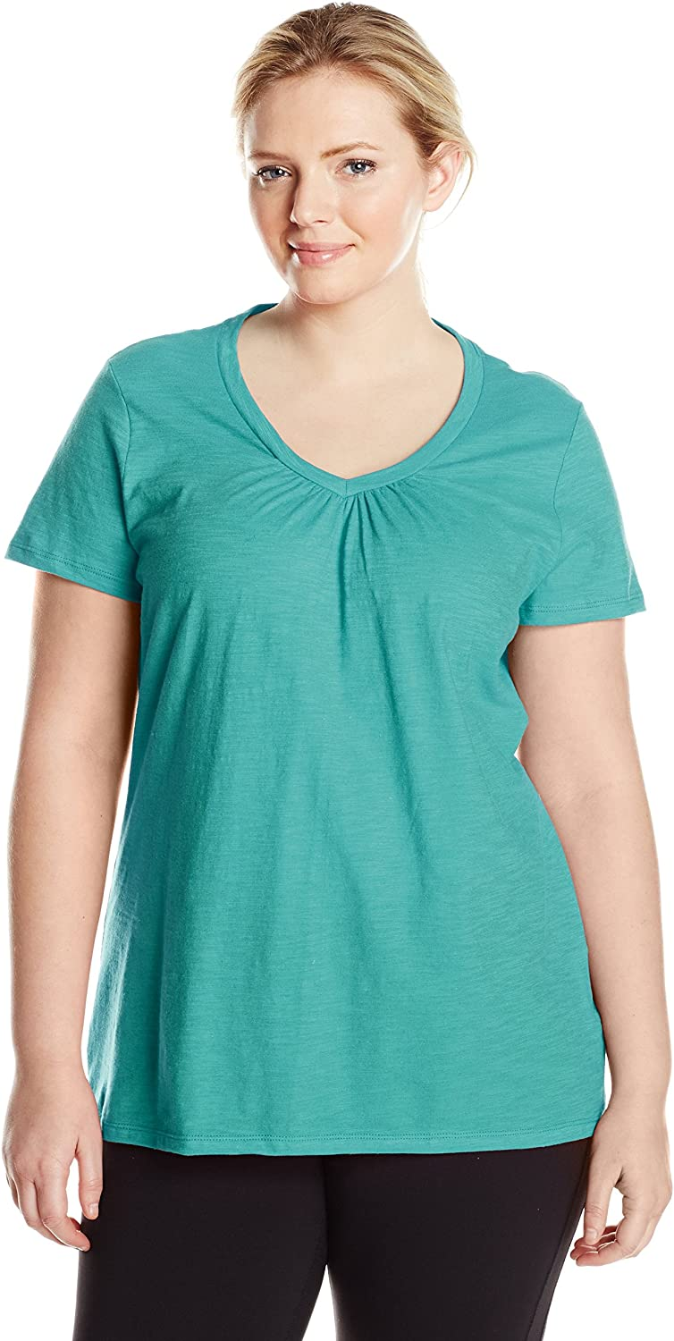 Just My Size Women's Short Sleeve Shirred V-Neck Tee
