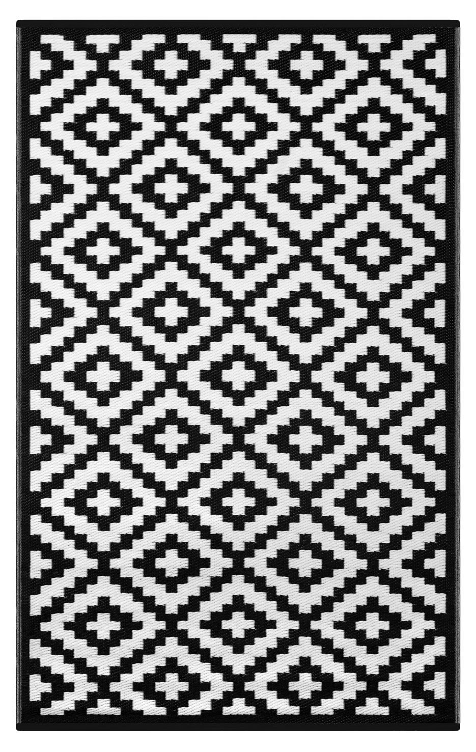 Lightweight Outdoor Reversible Plastic Rug Nirvana Black / White - 180 cm x 270 cm (6ft x 9ft) by Green Decore