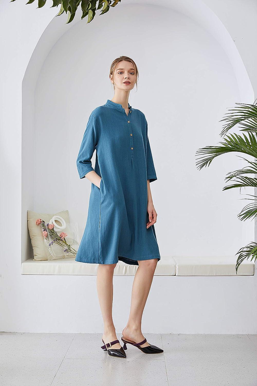 QUALFORT Womens Linen Dresses Spring Fall Cotton Plus Size Dress