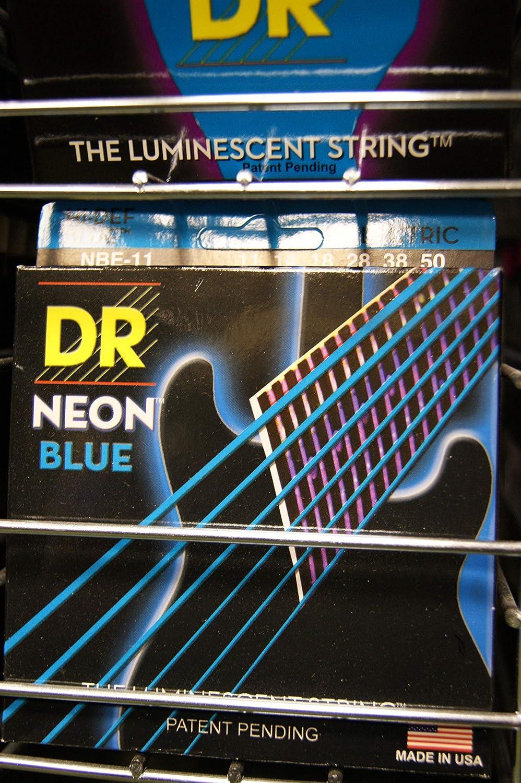 Dr cuerdas nbe1111–50Extra fuerte Set con revestimiento de hecho a mano Neon Hi-Def azul eléctrico Cuerdas