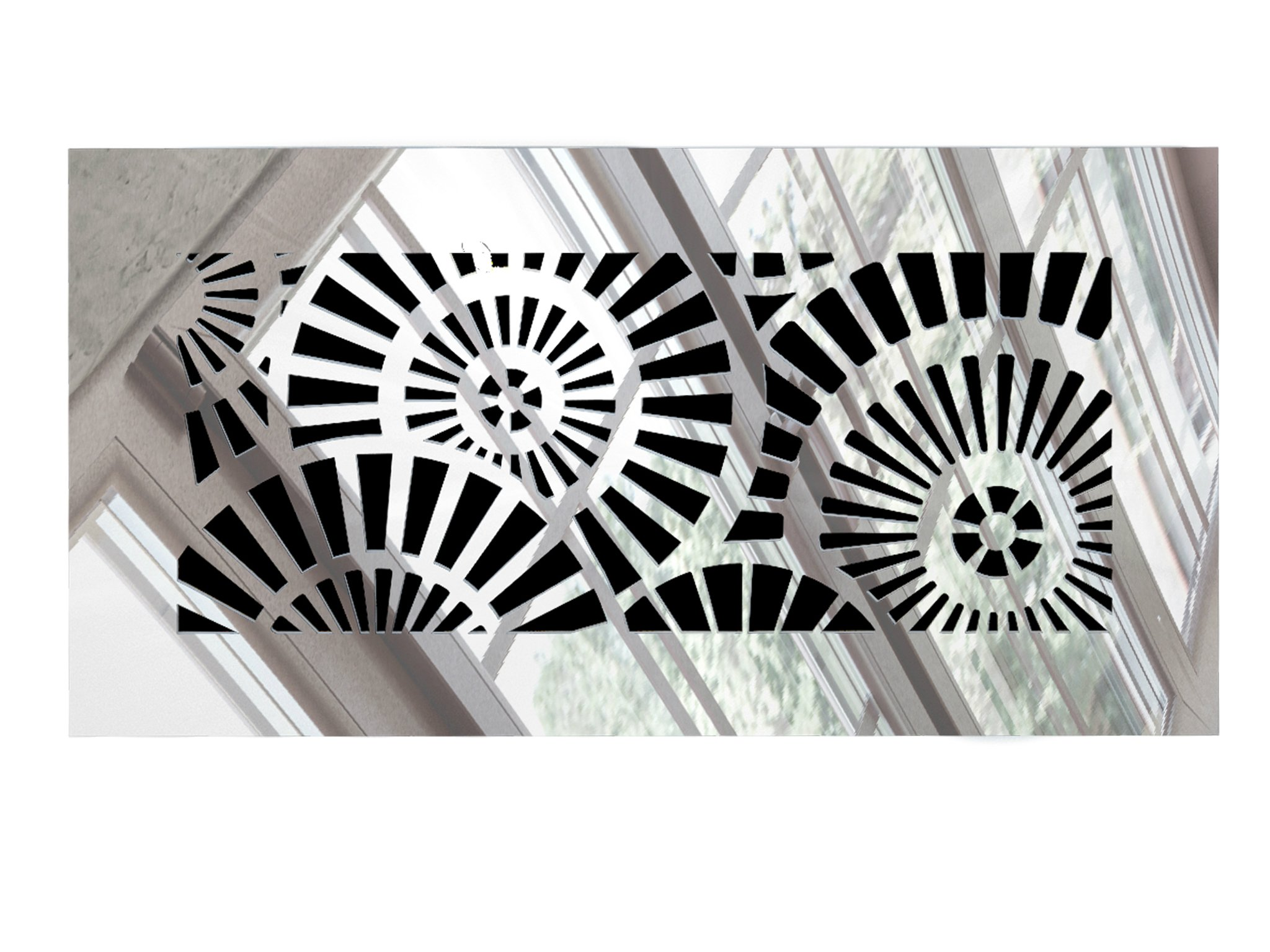 Saba Vent Cover Air Register - Acrylic Fiberglass Grille 10'' x 4'' Duct Opening (12'' x 6'' Overall) Mirror Finish Decorative Register for Walls, Ceilings NOT Floor use, Waterwheel