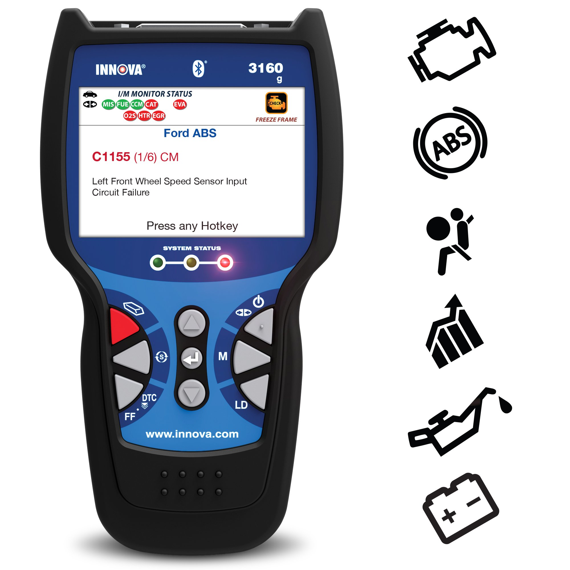 Innova Color Screen with Bluetooth 3160g Code Reader/Scan Tool with ABS, SRS, and Live Data for OBD2 Vehicles by Innova (Image #1)