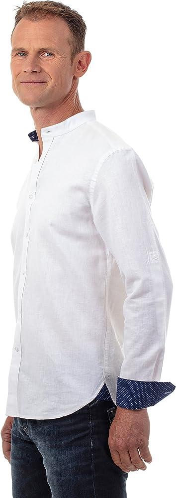 Ugholin - Camisa Hombre de Lino Cuello Mao de Manga Larga, Talla L, Color Blanco: Amazon.es: Ropa y accesorios