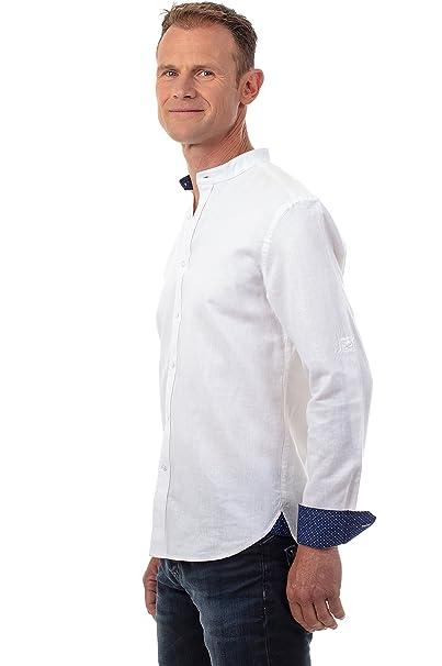 Ugholin Camisa Hombre de Lino Cuello Mao de Manga Larga  Amazon.es  Ropa y  accesorios d2429b67a6a