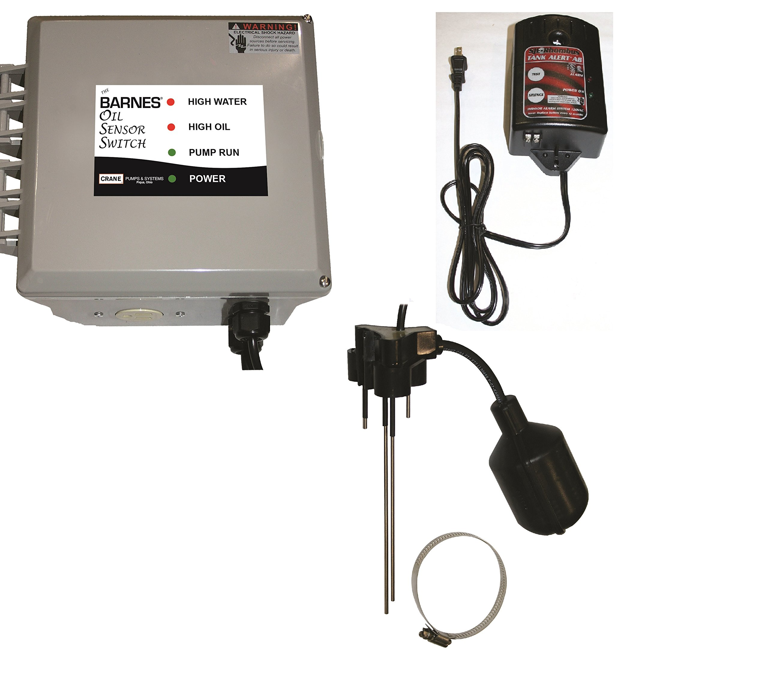 Barnes 135795 BOSS Series Oil Sensor Switch with High Water Alarm, 120V, 1 Phase, 15 Amp, NEMA 1 Enclosure, 10' Power Cord
