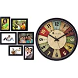 Amazon Brand - Solimo Collage Photo Frames (Set of 6, Wall Hanging),Black and 12-inch Wall Clock - Classic Roulette (Silent Movement, Black Frame) Combo