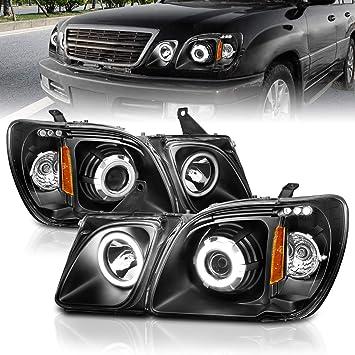 Amazon Com Amerilite Black Projector Headlights Ultra Bright Led Halo For Lexus Lx470 Passenger And Driver Side Automotive