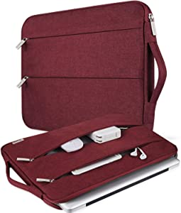V Voova Laptop Sleeve 13-13.5 Inch Slim Computer Case Bag with Handle Compatible with MacBook Pro Air/13.5 Surface Book 2/HP Protective Shockproof Notebook Skin Cover for Woman Lady,Red