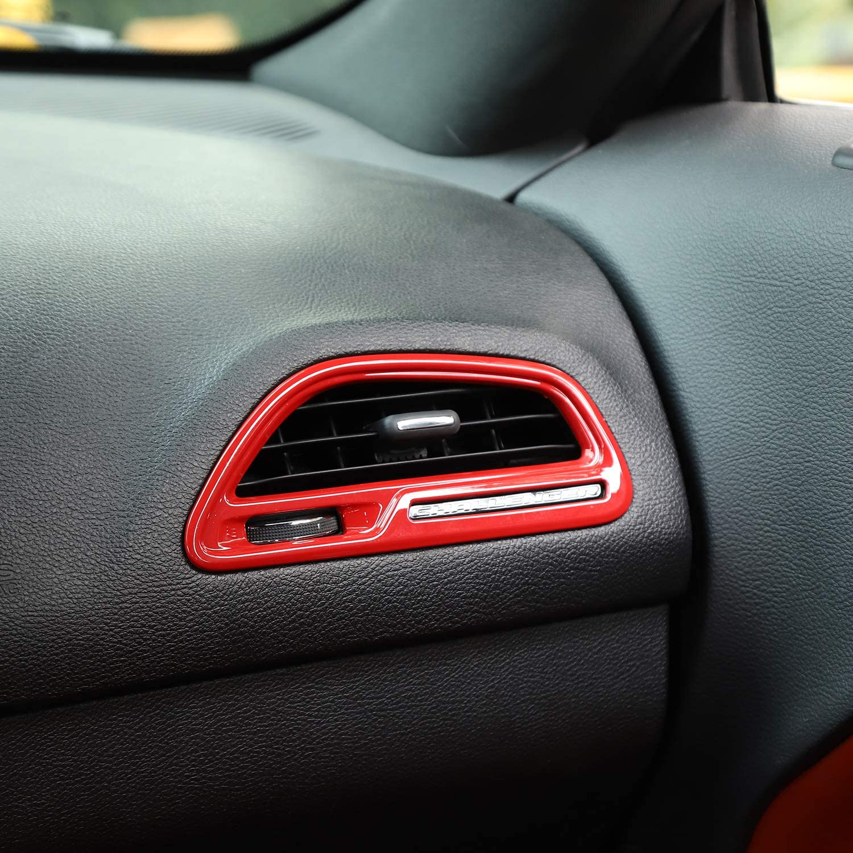 JeCar Center Console Air Conditioner Vent Trim Interior Accessories for Dodge Challenger 2015-2019 Carbon Fiber Texture