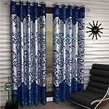 Homefab India Panel Darbar Modern 2 Piece Eyelet Polyester Door Curtain Set - 7ft, Blue