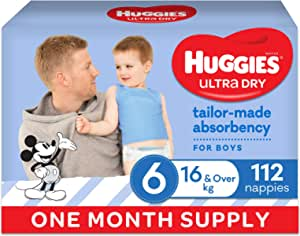 HUGGIES Ultra Dry Nappies, Boys, Size 6 (16kg+), One Month Supply, 112 count, (Packaging May Vary)