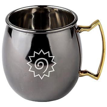 Naruto Moscú de acero inoxidable con acabado de espejo negro - Taza de cóctel chapada en cobre - 16 oz Moscú Mule taza regalo: Amazon.es: Hogar