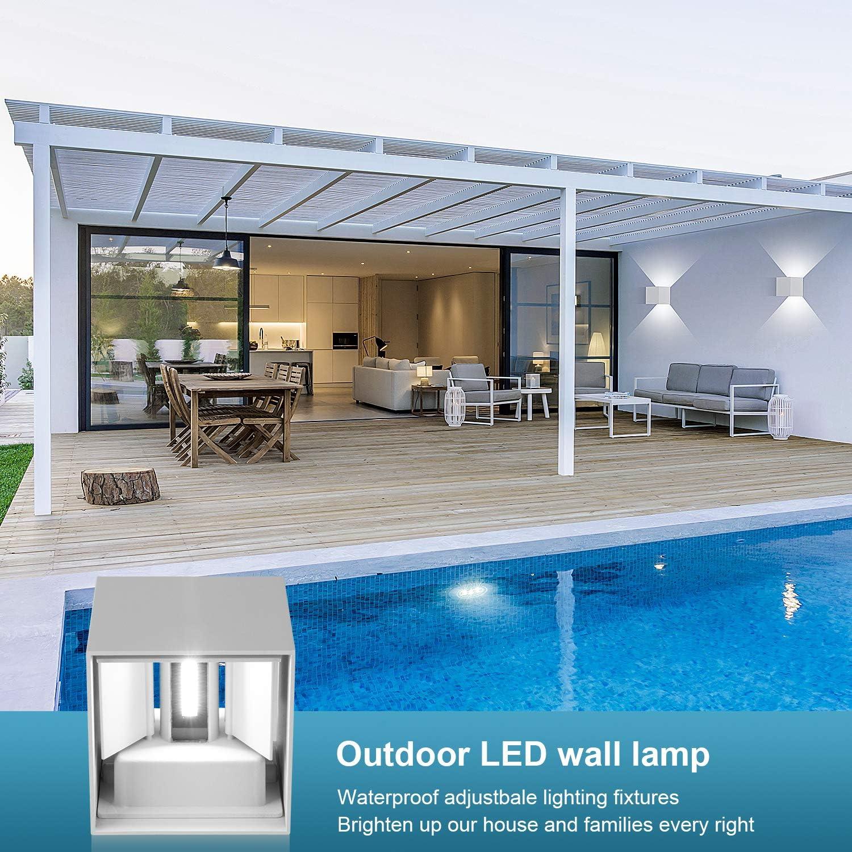Lámpara de pared LED de 12 W, iluminación de pared, iluminación exterior, con ángulo de dispersión ajustable, interior y exterior, 6000 K, color blanco, IP65. [Clase de eficiencia energética A+]: Amazon.es: Iluminación