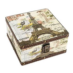 "WaaHome Wood Jewelry Keepsake Storage Box Memory Boxes Eiffel Tower Decorative Boxes For Girls Kids, 6.4""LX6.4""WX3.2""H"