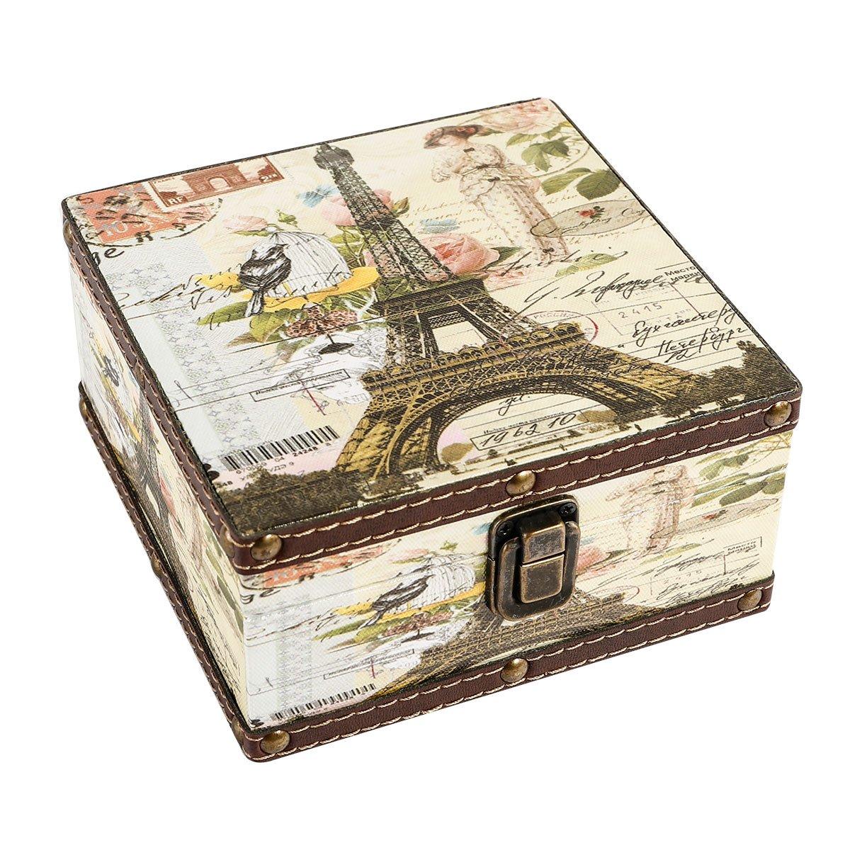 WaaHome Wood Jewelry Keepsake Storage Box Memory Boxes Eiffel Tower Decorative Boxes For Girls Kids, 6.4''LX6.4''WX3.2''H