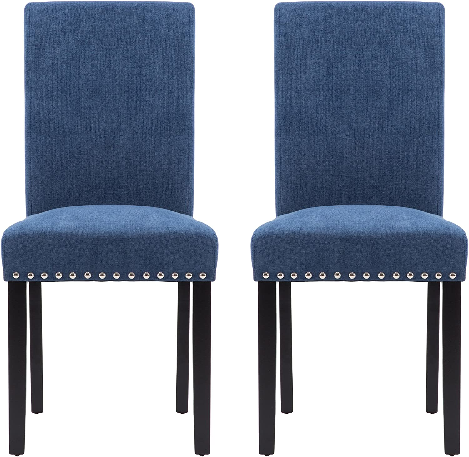 LSSPAID Upholstered Parsons Dining Chair with Polished Nailhead Wood Legs in Blue,Set of 2