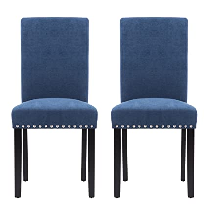 official photos f4535 41040 LSSPAID Upholstered Parsons Dining Chair with Polished Nailhead Wood Legs  in Blue,Set of 2