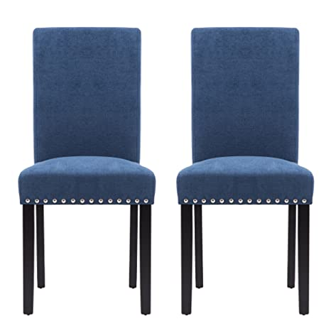 Outstanding Lsspaid Upholstered Parsons Dining Chair With Polished Nailhead Wood Legs In Blueset Of 2 Uwap Interior Chair Design Uwaporg